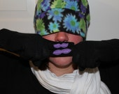 Black Gloves with Purple Mustaches on Each Finger - For Her