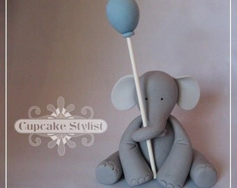 "3"" tall Elephant with Balloon Cupcake or Cake Topper, by Cupcake Stylist on Etsy"