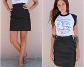 vintage 80s black leather mini skirt  /  1980s fitted pencil biker high waisted skirt  /  extra small xs small s