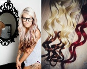 Valentine's Day, Reverse Ombre Hair Extensions, Two Freebie Red Mini Clips, Ombre clip in hair extensions, Dark Tip Hair Extensions
