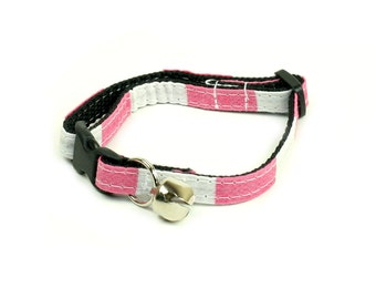 Cat Collar - Checkered Pink and White