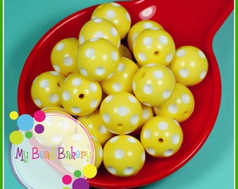 3 Pieces 24mm Yellow Polka Dot Indented Retro Style Round Acrylic Beads Chunky Bead Necklaces and Bracelets DIY Crafts