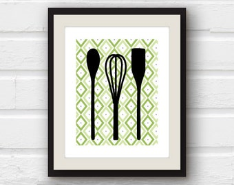 Kitchen Decor - Kitchen Utensils - Spatula, Whisk, Spoon Kitchen Art - Kitchen Print