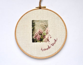 Hoop art photography. Embroidery French Touch. Shabby chic wall decor