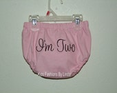 I'm Two Pink/Brown Diaper Cover
