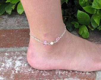 October Birthstone Anklet, Girls Butterfly Silver Anklet, Young Ladies Anklet, Childs Anklet, Little Girls Anklet, Flower Girl Jewelry