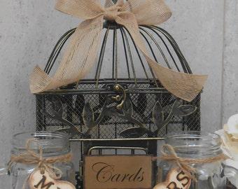 Birdcage Wedding Cardholder / Toasting Mason Jar Mugs