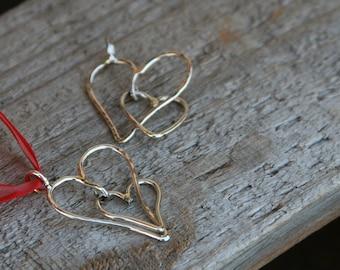 Handmade Sterling Silver Double Heart Pendant/ Charm