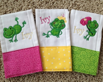 Set of 3 baby girl personalized leapfrog burp cloths in hot pink, green, and yellow