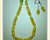 Simple and colorful mustard yellow topaz necklace & earrings set. Abacus beads. Green velvet ribbon
