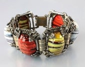 Reserved, do not purchase - Victorian revival Bracelet, Striped Czech glass Bracelet, cabochon Bookchain Bracelet
