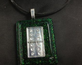 Necklace with Green Glittery Pendent and Metal Domino Inlay