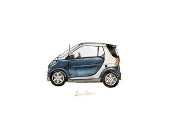 """Little Blue Smartcar, iconic automobile watercolor print, 8x10"""""""