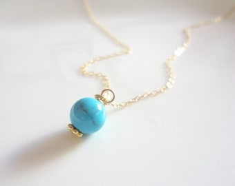 Turquoise Necklace, Gold Filled, Sterling Silver, Round, Chain, Dainty, Minimalist, Bridal, Weddings, Bridesmaids, Handmade jewelry