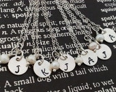 5 Hand Stamped Charm Jewelry Custom Personalized Necklaces Sterling Silver perfect for bridal party