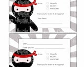Ninja Love FuN multiple Choice THANK YoU BLANK  Digital Custom Invitation Card Instant Download