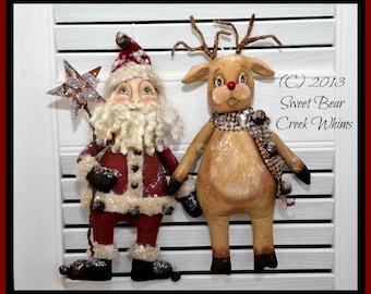 Primitive Santa Pattern, Reindeer Pattern, Christmas E-Pattern, Ornaments, Bowl Fillers, PDF instant download pattern, Digital download