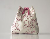 LIVIA, toiletry bag ecru white embroidered pink flowers reversible and convertible,large model.