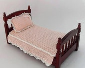 1:12 Scale Pink Single Bedspread and Pillow Dollhouse Miniature Crochet Fitted Bed Cover White Trim Dollhouse Artisan Handmade MiniatureJoy