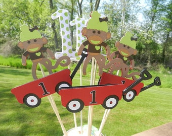 Birthday Party Table Centerpiece Table Decoration Sock Monkeys and Wagons