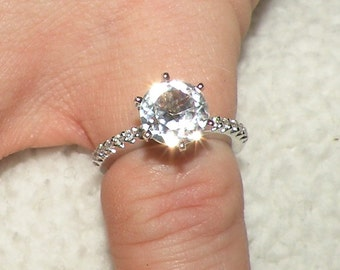 The Kate  14kt Engagement Ring White Sapphire with Diamond Accents