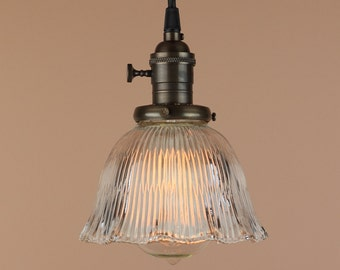 Pendant Lighting w/ Mini Ruffled Glass Shade - Antique Reproduction Cloth Wire - Hand Finished in Oil Rubbed Bronze