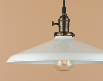 14 inch Pendant Light - Lighting w/ White Porcelain Enamel Finish - Rustic Farm House Style Barn Light - Oil Rubbed Bronze or Satin Nickel