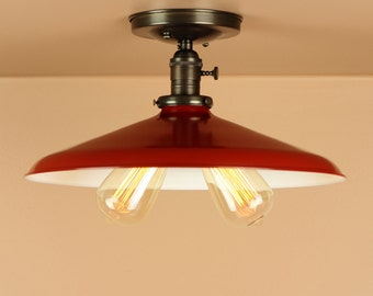 Semi Flush Lighting w/ 14 inch Red Porcelain Enamel Shade - Oil Rubbed Bronze / Satin Nickel - Edison Light Bulbs - Downrod Option