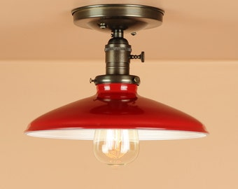 Semi Flush Lighting w/ 10 inch Red Porcelain Enamel Shades - Oil Rubbed Bronze / Satin Nickel - Down Rod Option