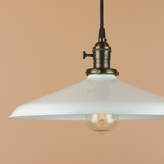 14 inch Pendant Light - Lighting w/ White Porcelain Enamel Finish - Oil Rubbed Bronze or Satin Nickel - Rustic Farm House Style Barn Light