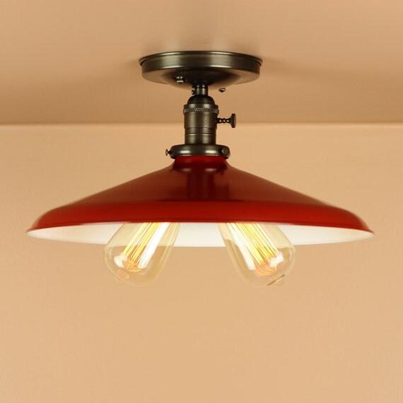 Semi Flush Lighting w/ 14 inch Red Porcelain Enamel Shade - Oil Rubbed Bronze / Satin Nickel - Edison Light Bulbs - Downrod Option
