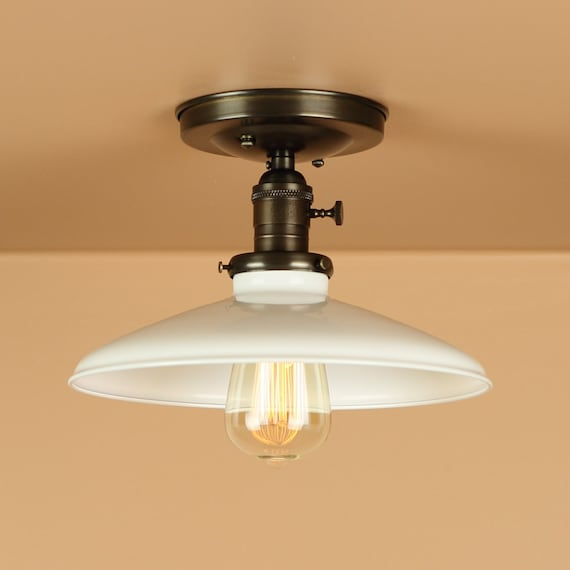 Semi Flush Lighting w/ 10 inch White Porcelain Enamel Shade - Oil Rubbed Bronze / Satin Nickel Finish - Downrod Option