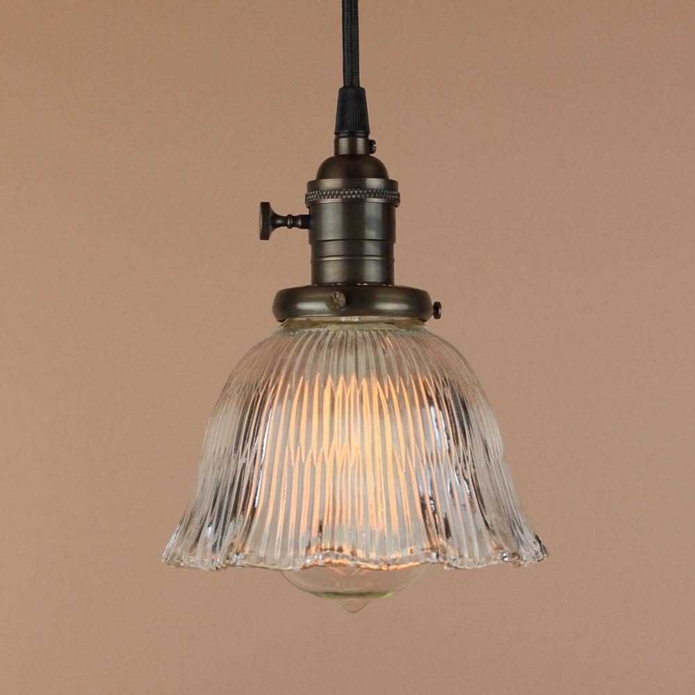 Pendant Lighting W/ Mini Ruffled Glass Shade Antique