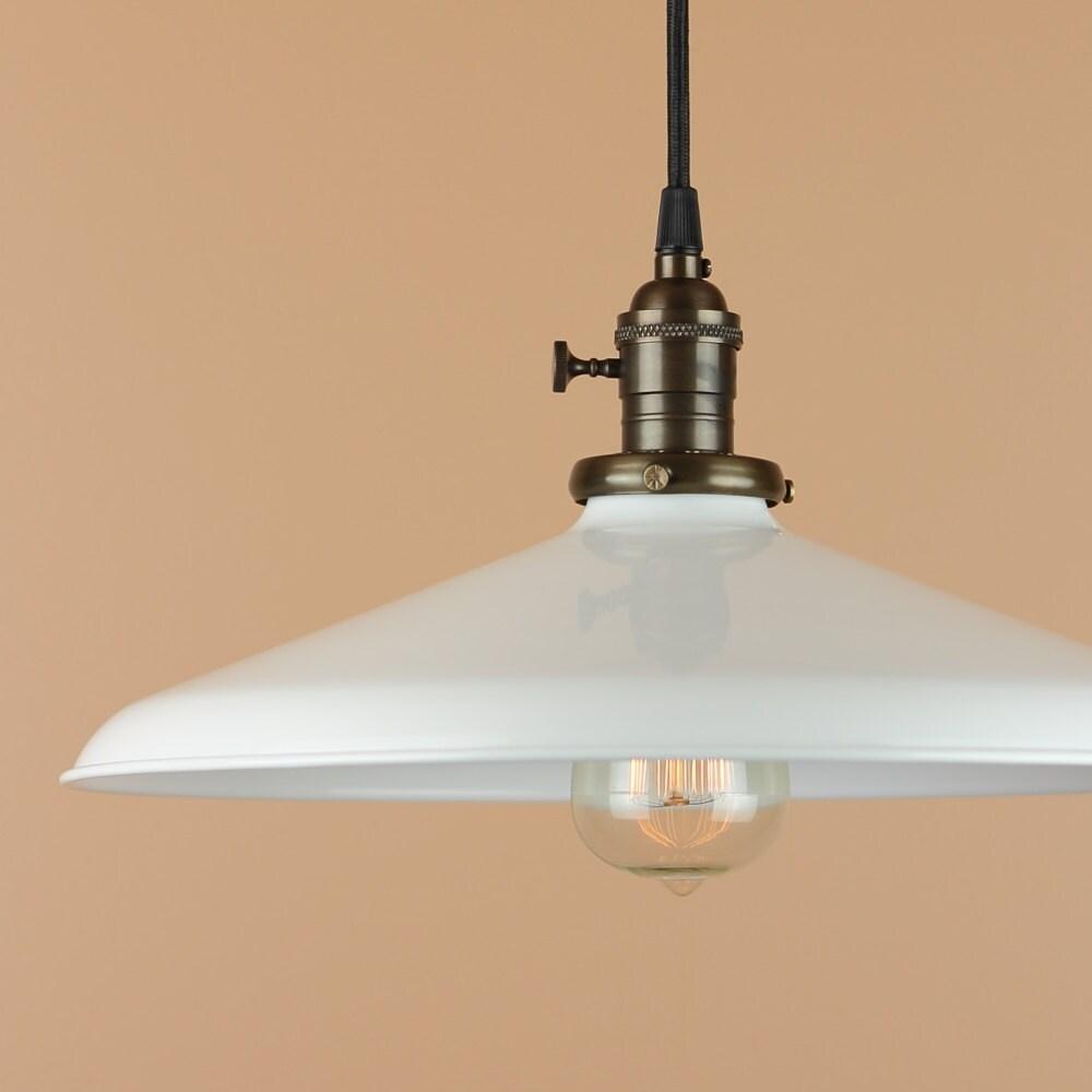 14 Inch Pendant Light Lighting W/ White Porcelain Enamel