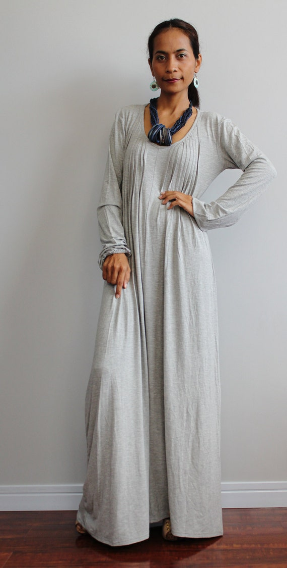 Long Grey Dresses uk Grey Maxi Dress Long Sleeve
