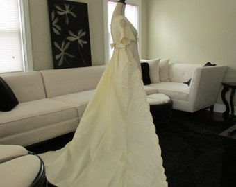 Vintage Cream Satin and Netted Lace Empire Waist Wedding Dress with Removable Train, Vintage Wedding Dress, Vintage Bride