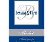56 - 2x2.67 inch Custom Wedding Rectangle or Mini Wine Bottle Labels - hundreds of designs - change designs to any color, wording etc WN029