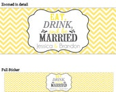 50 Custom Glossy Waterproof Wedding Water Bottle stickers - many designs to choose from - change designs to any color or wording WW-009