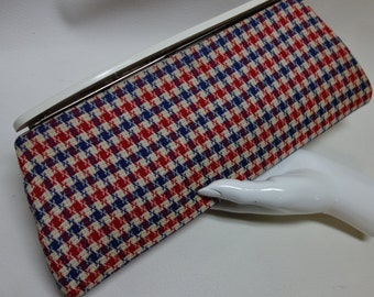 Blue/Red/Cream Houndstooth Clutch