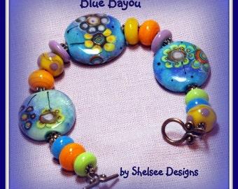 Blue Bracelet,Lampwork Copper Bracelet,South Western Bracelet,Glass Bracelet,Beadwork Bracelet ,Colorful Bracelet,Unique  - BLUE BAYOU-