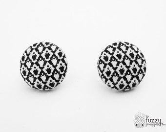 """Black and White Crown - Fabric Covered Button Earrings Size Medium 3/4"""" by The Fuzzy Pineapple"""