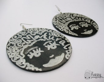 Face of the Moon Earrings by The Fuzzy Pineapple Hand Painted