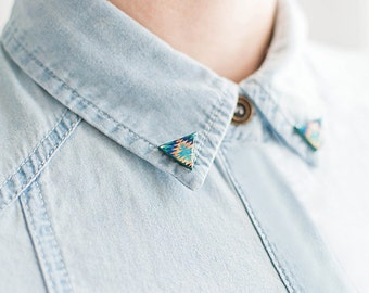 Collar brooches, triangle collar clips