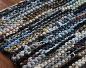 T Shirt Rag Rug Utility Navy Blue Cream Gray Black Brown Upcycled Cottage Chic Farmhouse Rectangle 25 in x 35 in --US Shipping Included