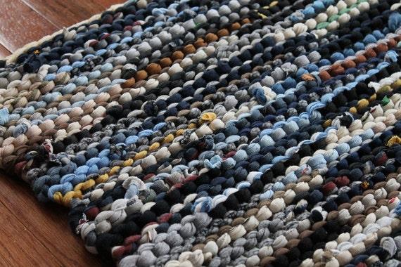 T Shirt Rag Rug Utility Navy Blue Cream Gray Black Brown