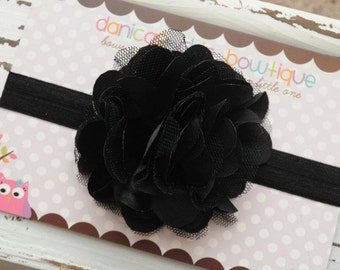 Large black satin mesh flower on black headband. Infant, toddler, child, adult sizes