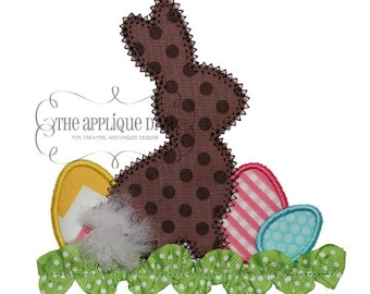 Easter Rabbit in Grass Digital Embroidery Design Machine Applique