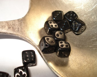 Czech Glass Opaque Black Dice beads 8mm