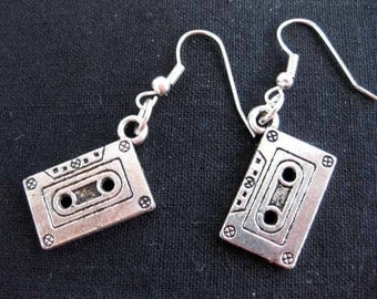 MC cassette tape earrings earrings Music DJ Music Tape silver