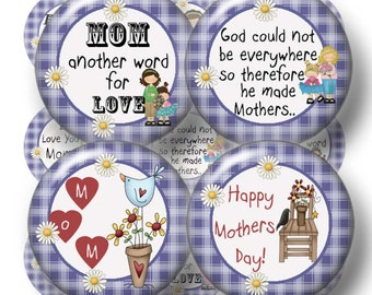 MOTHER, 1 Inch Circles, Mom Bottle Cap Images, Digital Collage Sheet, (No.1) For Magnets, Pendants, Glass Cabochons,